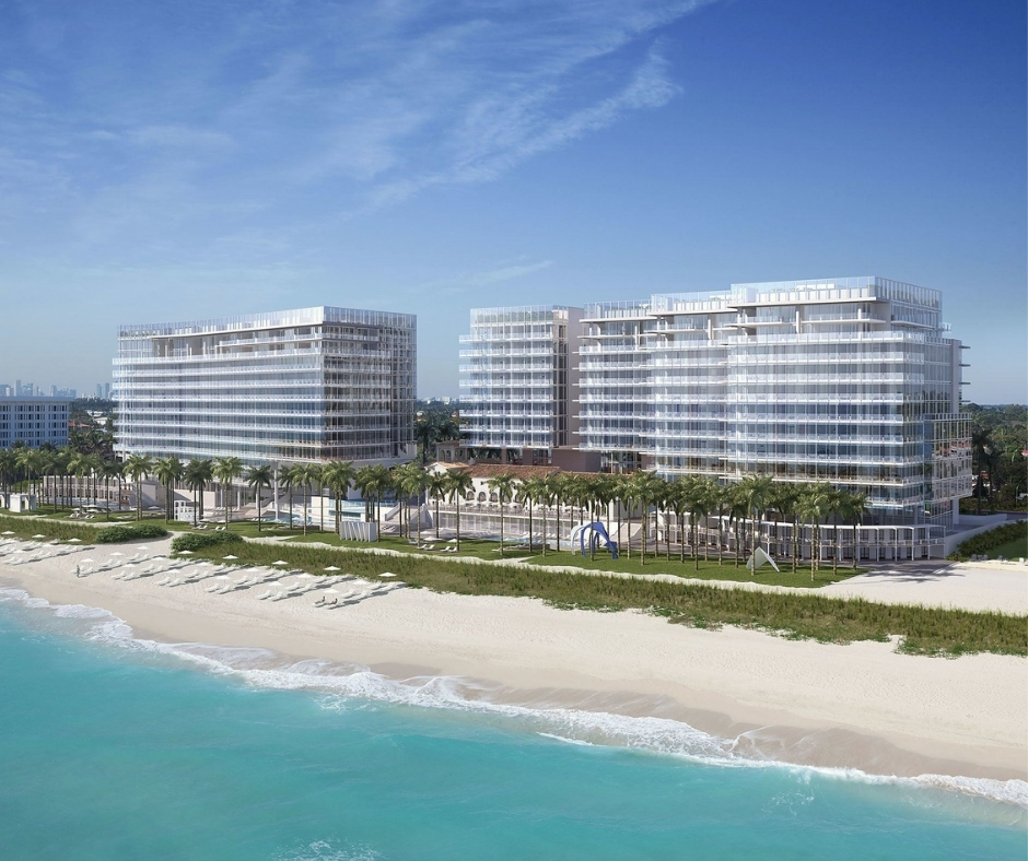 Panoramic view of Surf Club Four Seasons overlooking clear waters of Miami beach lined with palm trees