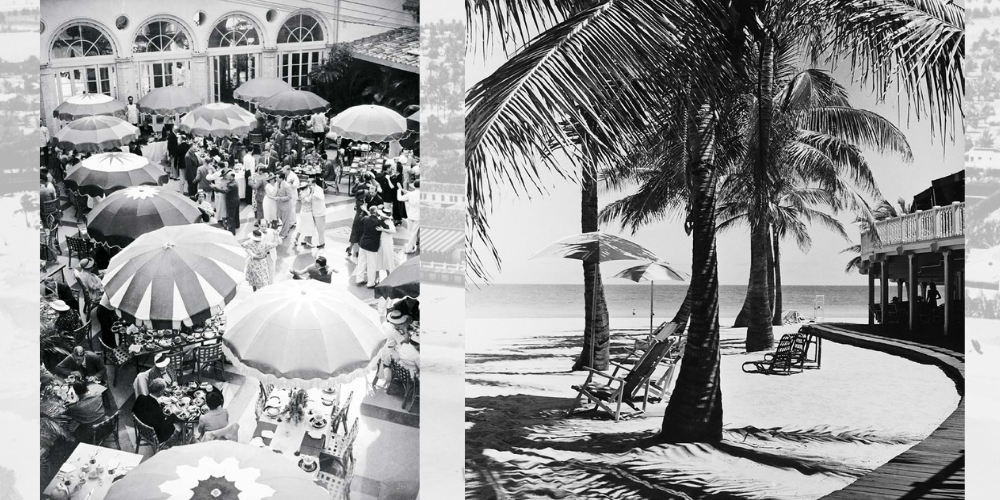 Black and white photo of the glamorous beachside lifestyle at the Surf Club.