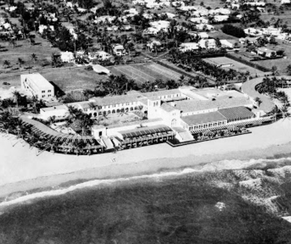 Black and white historic photo of the Surf Club on Miami beach