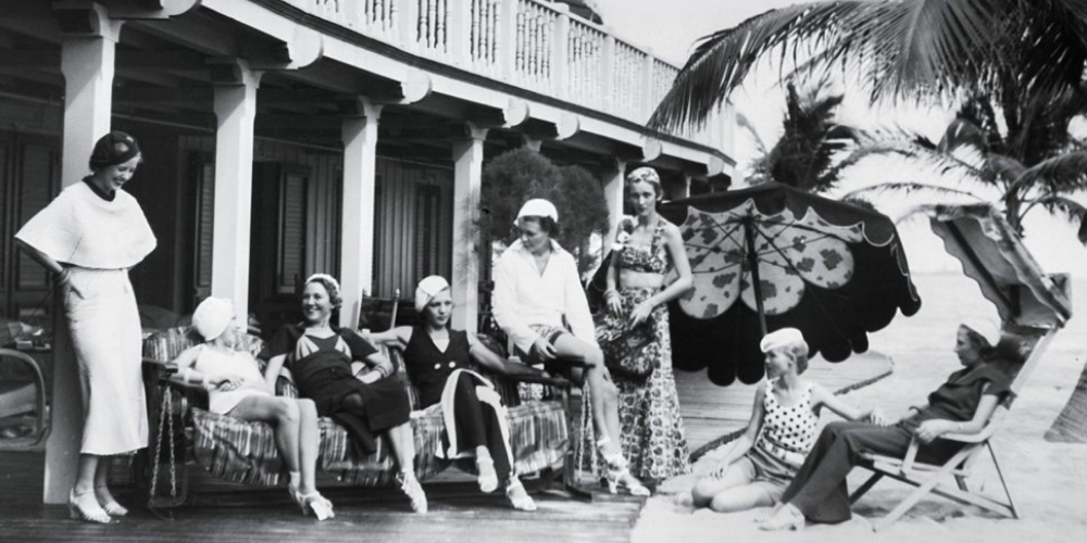 Black and white photo of women from Miami's elites hanging out at the Surf Club.